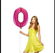 Roze cijfer ballon 0