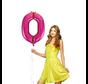 Helium pink roze cijfer ballon 0
