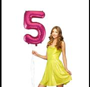 Roze cijfer ballon 5