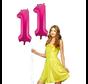 Roze folie ballonnen cijfers 11