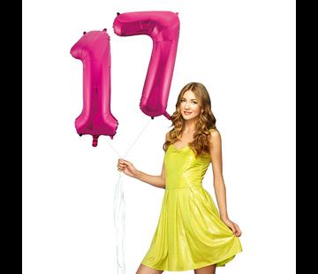 Roze cijfer ballonnen 17