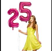 Roze cijfer ballonnen 25