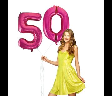 Roze cijfer ballonnen 50