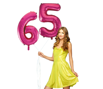 Roze cijfer ballonnen 65