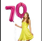 Roze cijfer ballonnen 70