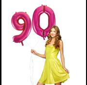 Roze cijfer ballonnen 90