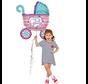 Baby ballon roze kinderwagen
