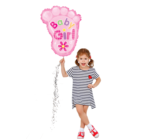 Roze baby voetjes ballon