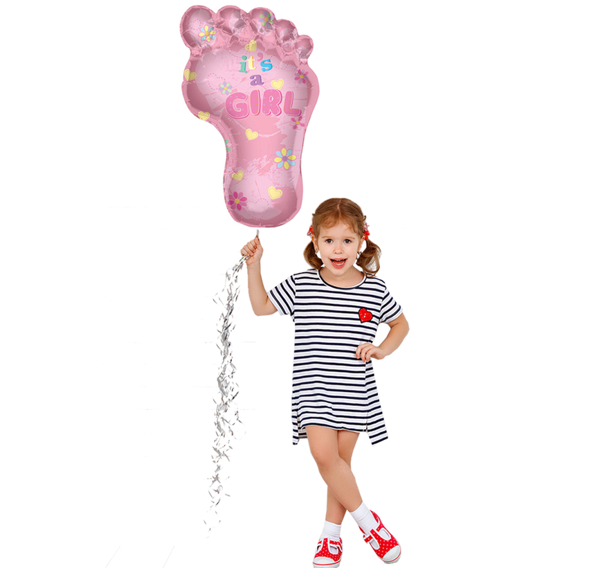 Helium Baby ballon roze kindervoetje