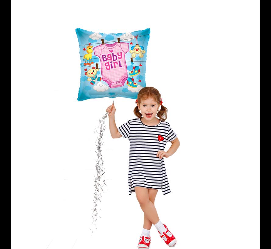 Geboorte ballon baby girl rompertje