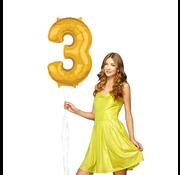 Ballon cijfer 3 goud