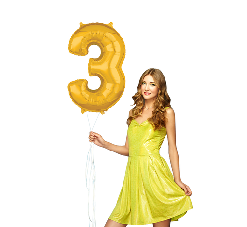 Ballon cijfer 3 goud - 103 cm