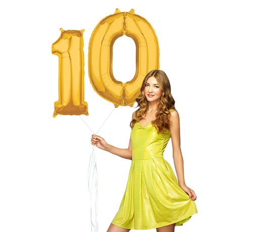 Ballonnen cijfers 10 goud - 103 cm