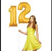 Cijfer ballonnen goud 12