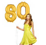 Cijfer ballonnen goud 80