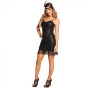 Flapper jurk luxe Zwart
