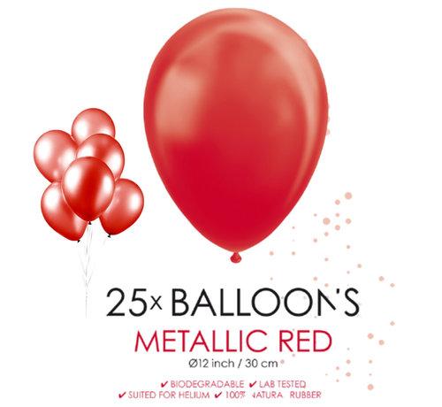 25 rode metallic ballonnen