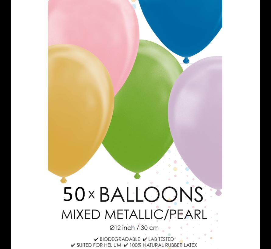 50 gemengde metallic ballonnen