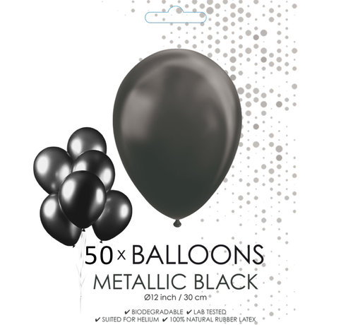 50 zwarte metallic ballonnen