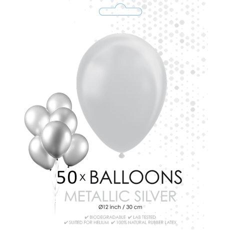 50 zilveren metallic ballonnen