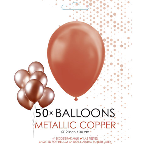 50 Koperkleurige metallic ballonnen