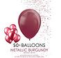 50 burgundy metallic ballonnen