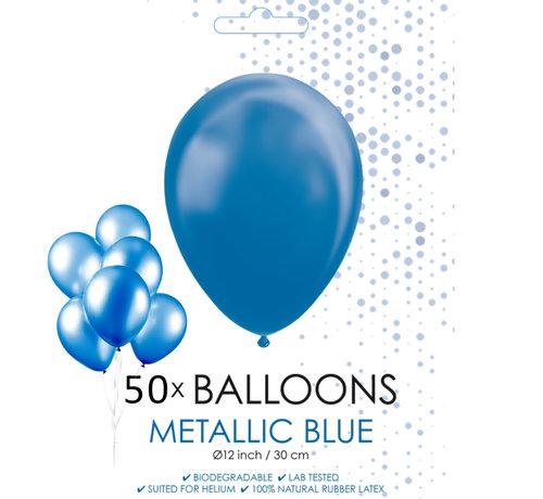 50 blauwe metallic ballonnen