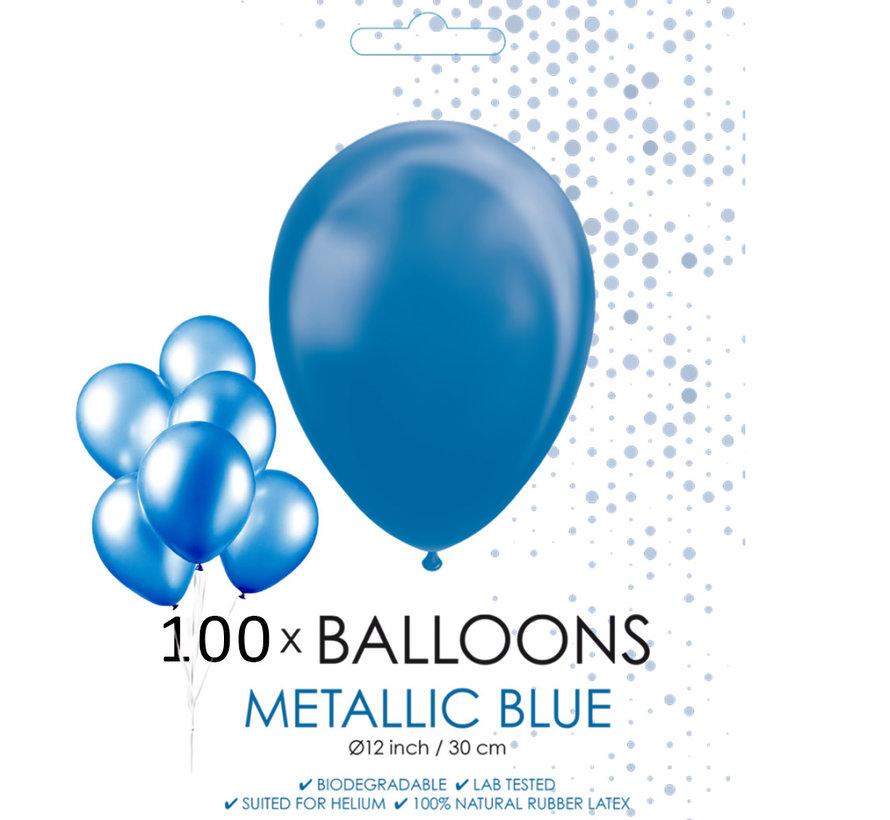 100 blauwe metallic ballonnen