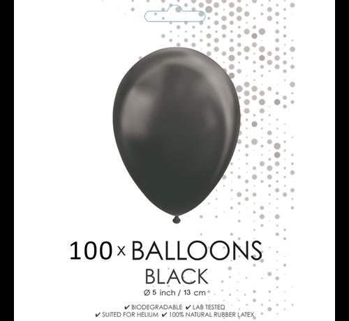 5 inch ballonnen zwart 100 stuks