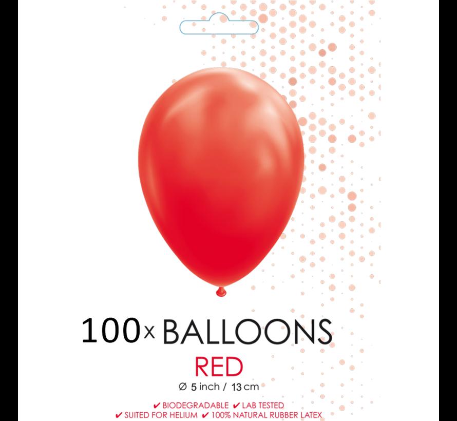 5 inch ballonnen rood 100 stuks