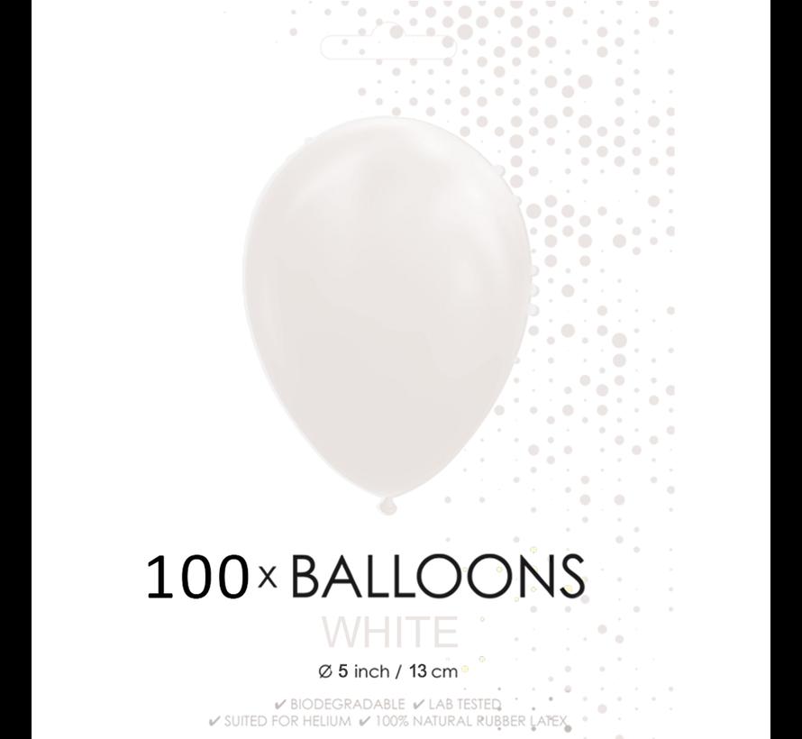 5 inch ballonnen wit 100 stuks