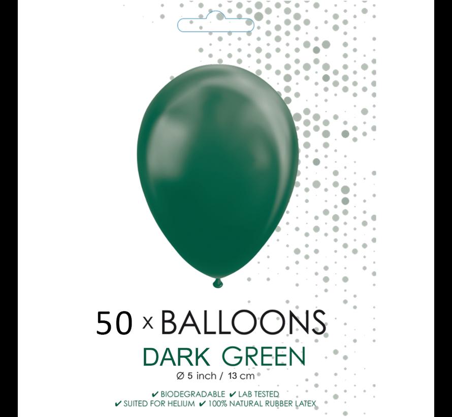 50 Ballonnen donkergroen 5 inch