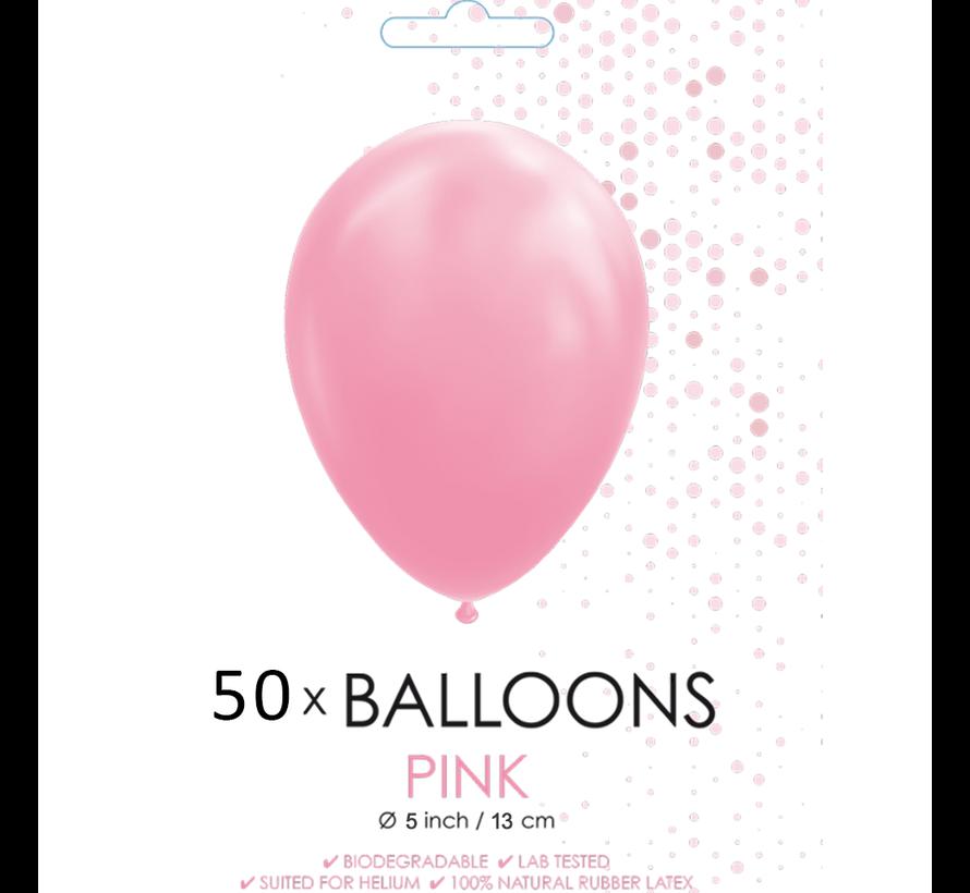 50 Ballonnen roze 5 inch
