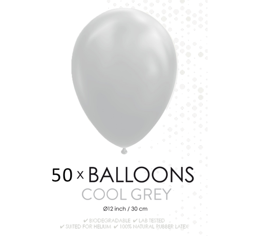 50 ballonnen grijs 12 inch