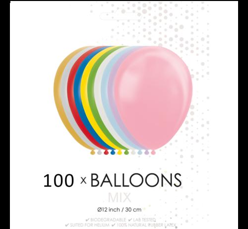 100 Metallic / Pearl ballonnen mix  30 cm
