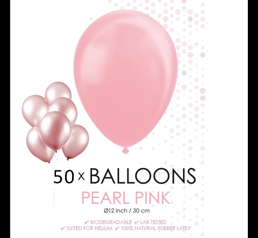 50 Parel roze ballonnen 30 cm