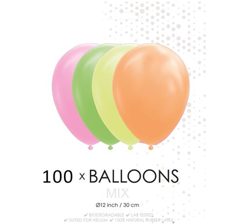 100 Neon ballonnen 30 cm
