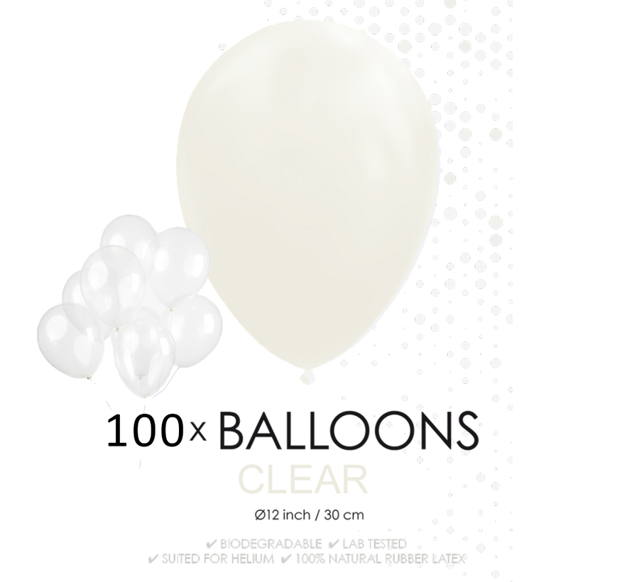 100 ballonnen doorzichtig 12 inch