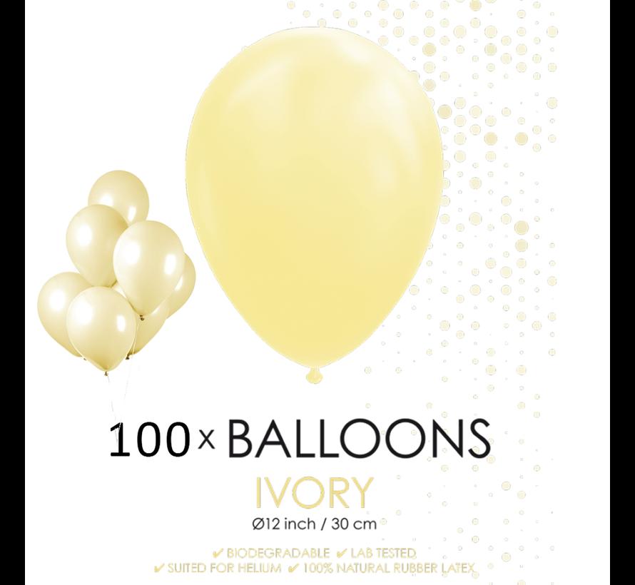 100 ballonnen ivoor 12 inch