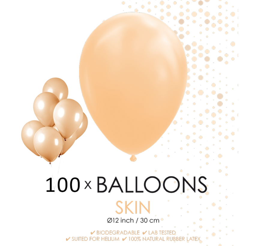 100 ballonnen huidskleur 12 inch