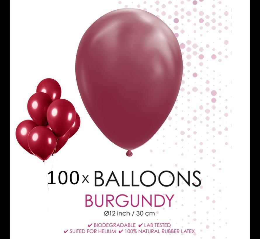 100 ballonnen bordeaux rood 12 inch