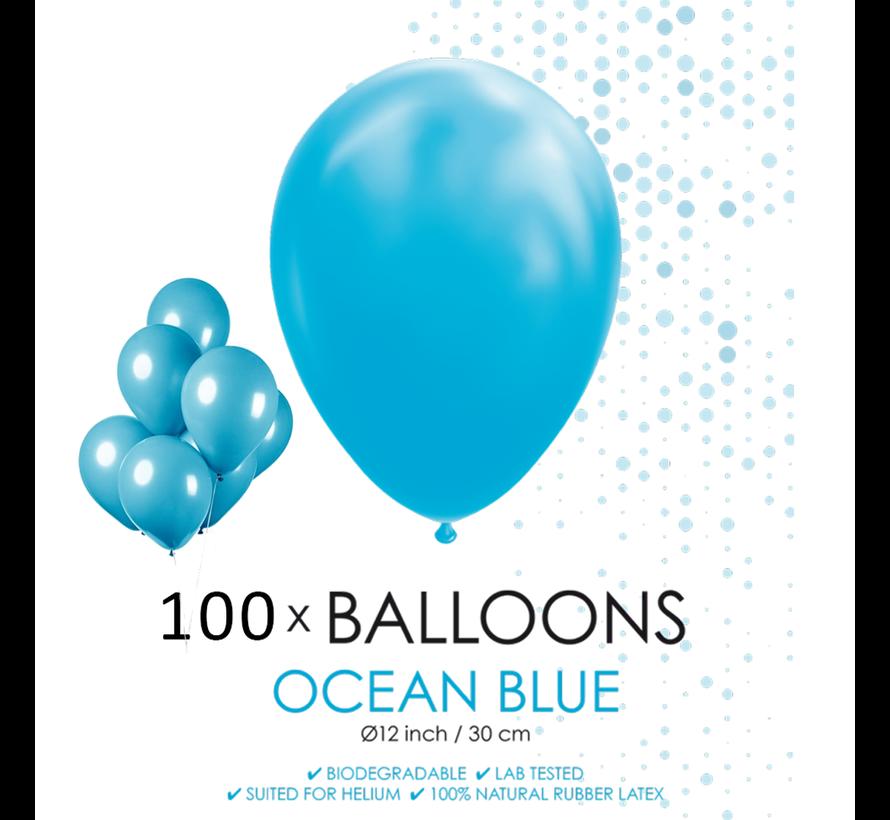 100 ballonnen oceaan blauw 12 inch