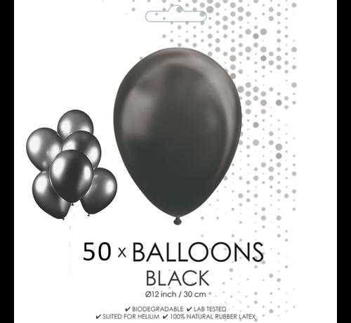 50 ballonnen zwart 12 inch