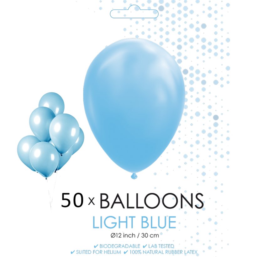 50 ballonnen licht blauw 12 inch