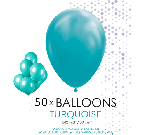 50 ballonnen turquoise 12 inch
