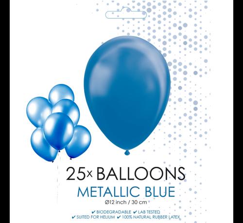 25 blauwe metallic ballonnen