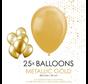 25 goudkleurige metallic ballonnen
