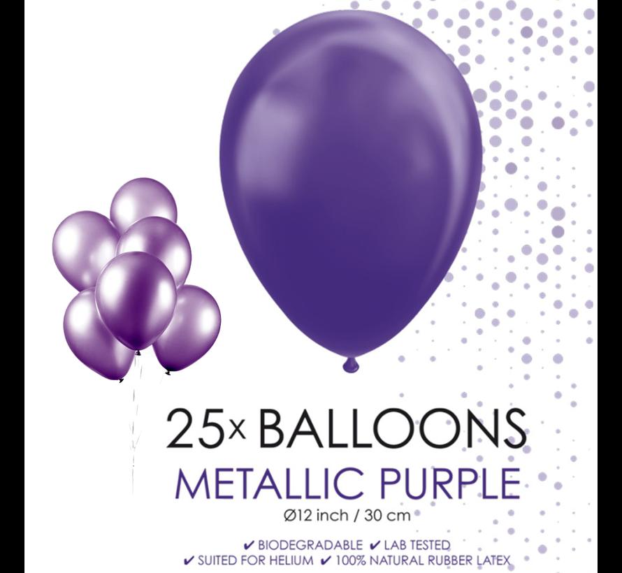 25 paarse metallic ballonnen