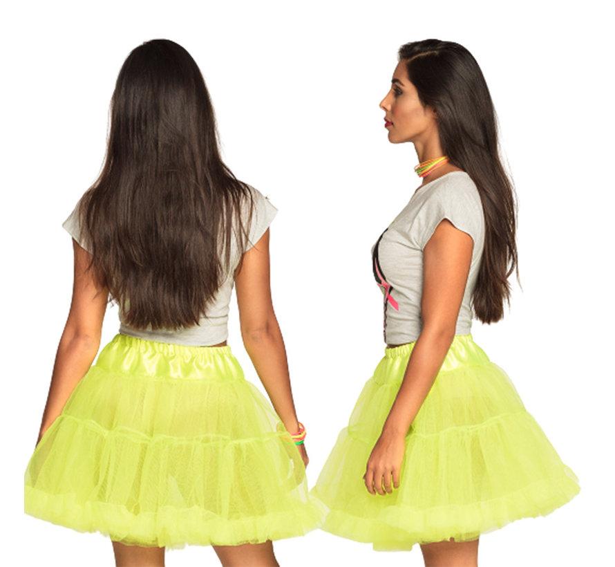 Lange stretch petticoat neongeel  M/L