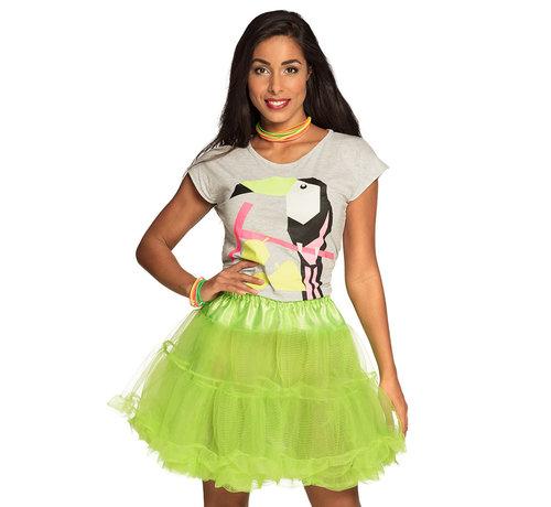 Lange Stretch petticoat neon groen